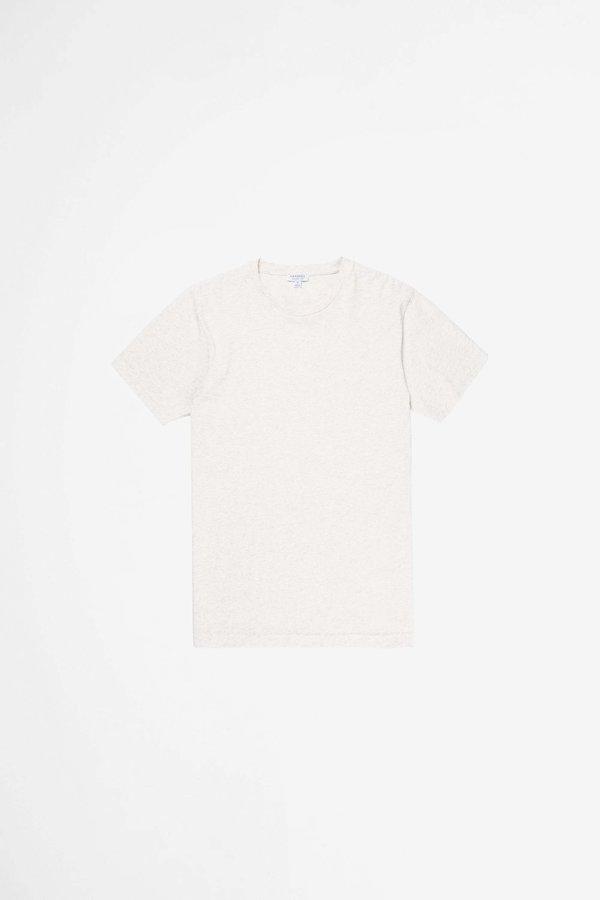 Sunspel Organic Cotton Riviera T-shirt - Archive White Melange