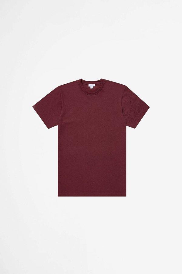 Sunspel Organic Cotton Riviera T-shirt - Powder Oxblood Melange