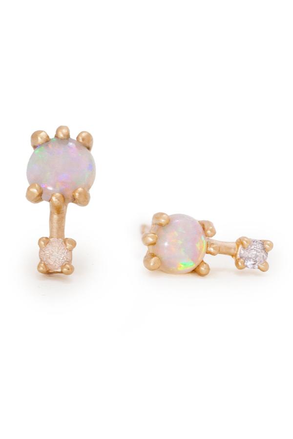 Valley Rose Mira Earrings - Australian Opal/White Sapphire