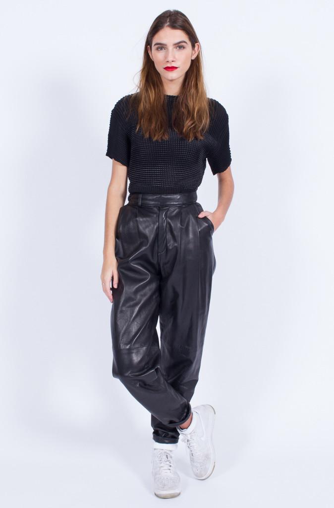 Yo Vintage High Waist Leather Pants 24 Inch Waist