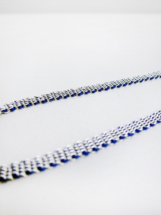 17 by Stephanie Schneider Silver and Silk Necklace, Blue