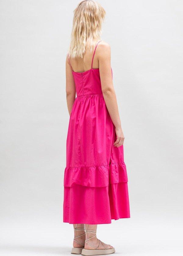 Toit Volant Bandeau Tier Ruffle Dress - Popstar Fuchsia