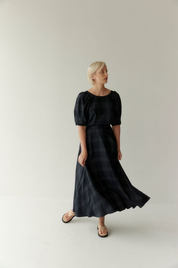 Mina Isik Skirt - Navy Pinstripe