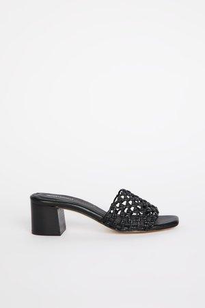 """INTENTIONALLY __________."" Selda Sandals - Black"