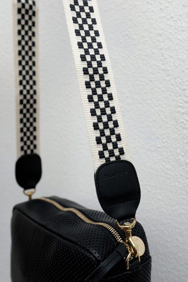 Clare V. Crossbody Strap Webbing - Black/Cream Checker