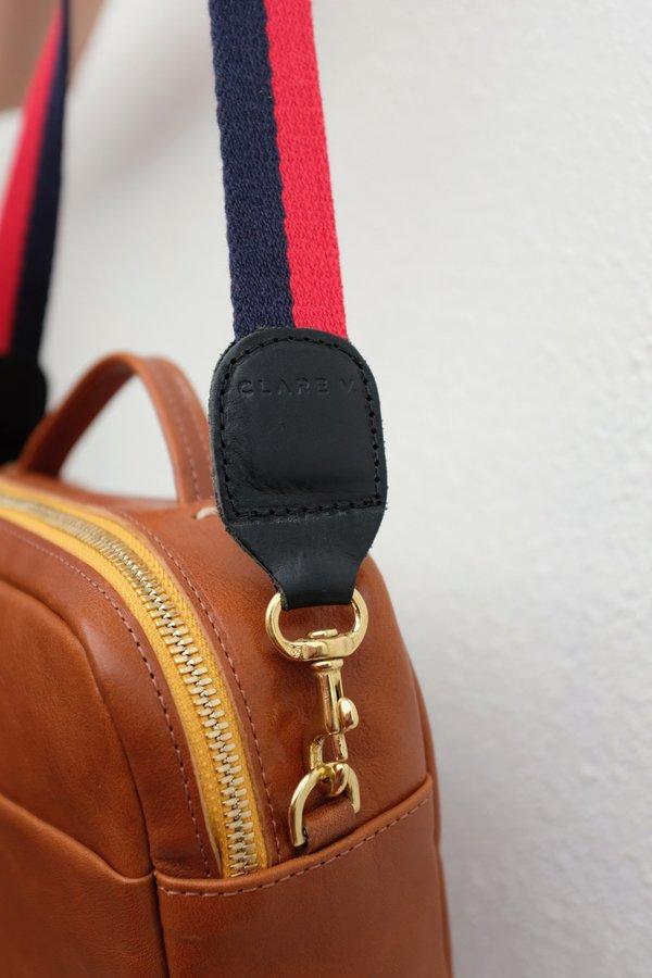 """Clare V. 28"""" Shoulder Strap Webbing  Bag - Red/Navy"""