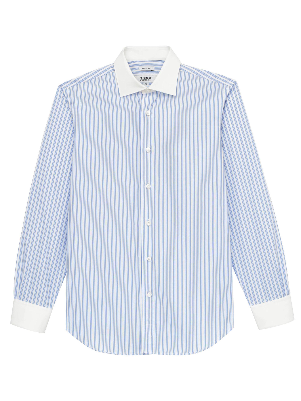 1920s Men's Shirts and Collars History Freemans Sporting Club Dress Shirt - Blue Triple StripeWhite Collar $260.00 AT vintagedancer.com