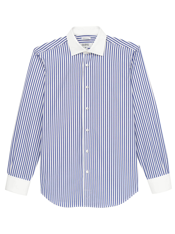 1920s Men's Shirts and Collars History Freemans Sporting Club Dress Shirt - Navy Wide StripeWhite Collar $260.00 AT vintagedancer.com