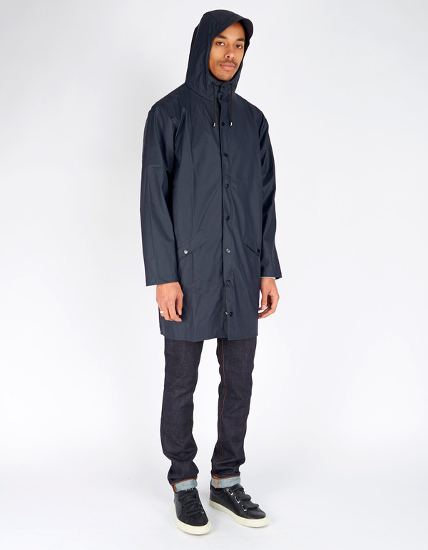 Rains Long Jacket Blue | Garmentory