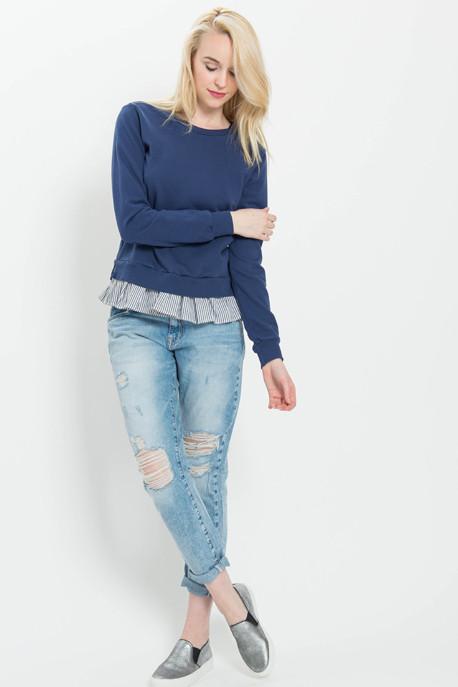Tie-Back Ruffled Sweatshirt Top