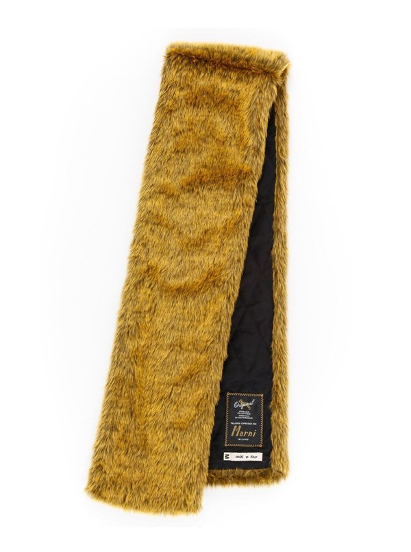 Marni Faux Fur Padded Quilted Back Scarf - Gold