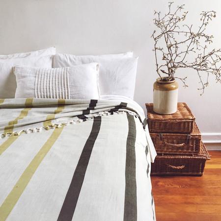 New Market Goods Khala Wide-Striped Bedcover - Citron/Hunter
