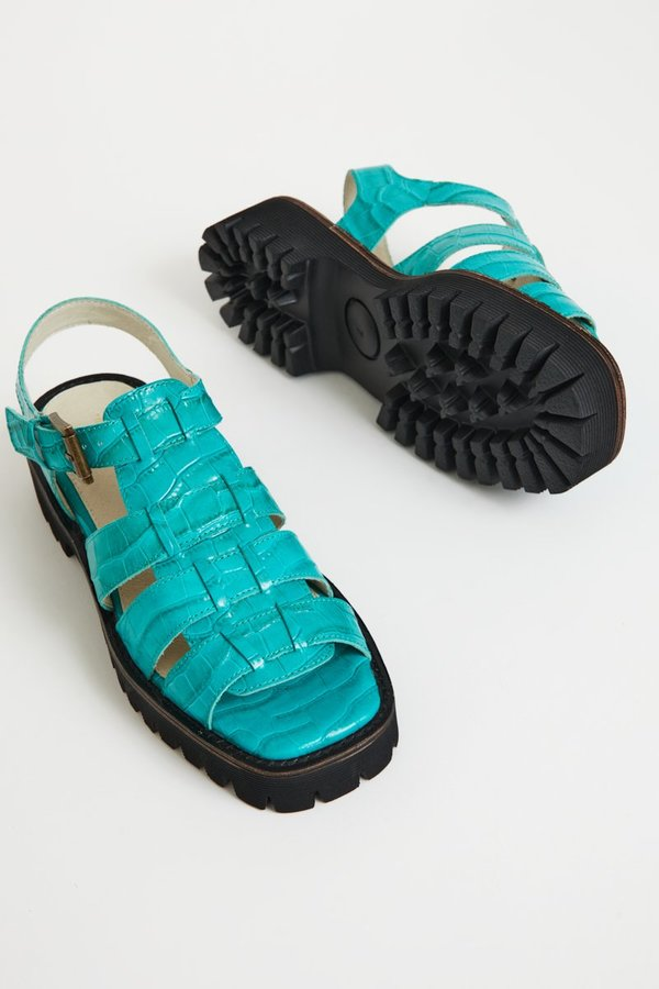"""INTENTIONALLY __________."" Haddie Sandals - Aqua"
