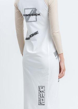 we11done All Over Logo Printed Raglan Sleeve Jersey Maxi Dress - Beige