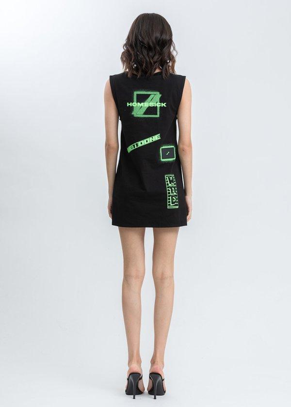 we11done All Over Logo Printed Mini Dress - Black