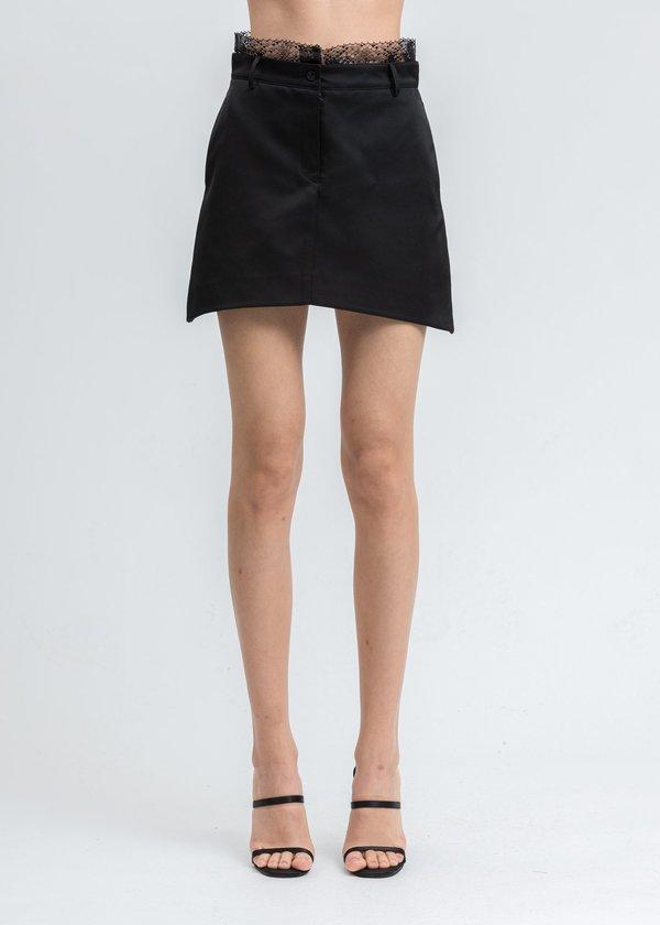 we11done Satin Trimming Lace Mini Skirt - Black