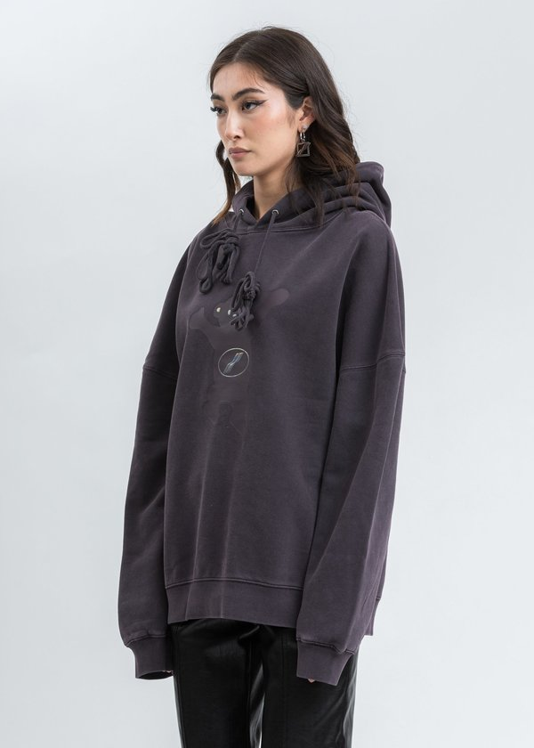 WE11DONE Teddy Hoodie sweater - Charcoal