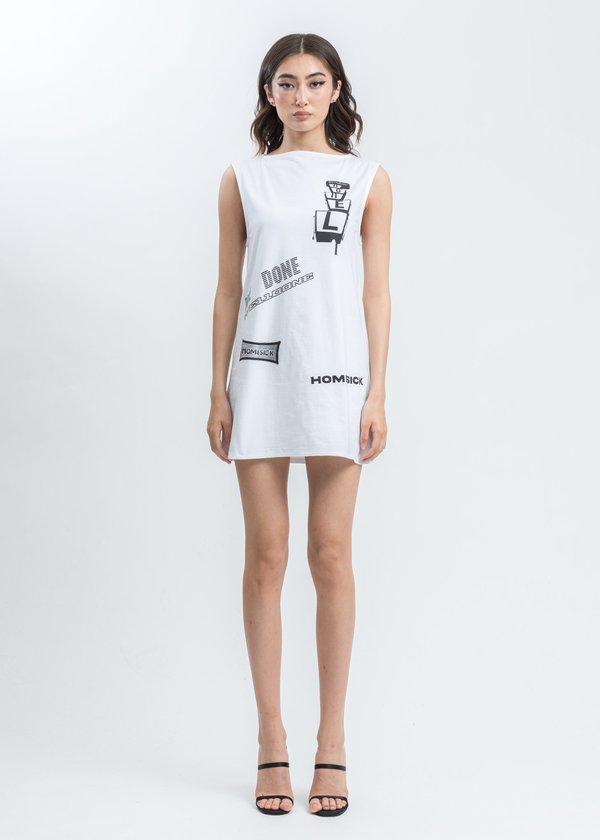 we11done All Over Logo Printed Mini Dress - White