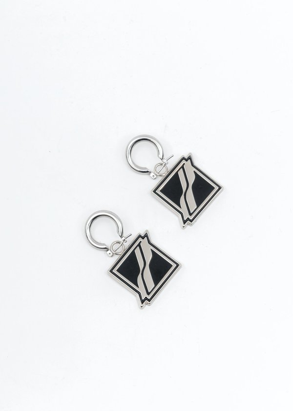 we11done Black Square Logo Earring - Silver