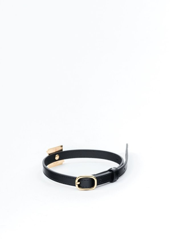 we11done Patent Mini Logo Buckle Choker - Gold