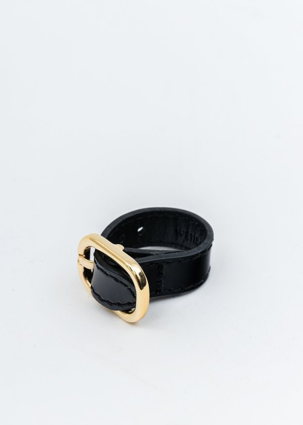 we11done Patent Mini Logo Buckle Ring - Gold