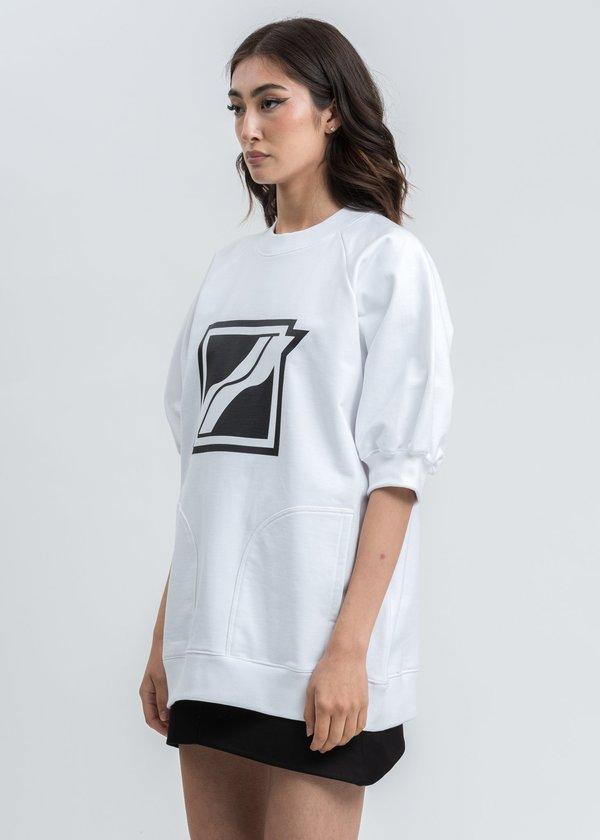 we11done Half Pocket Raglan Short Sleeve Sweater - white
