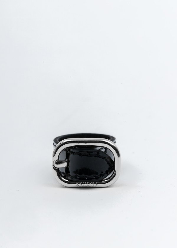 we11done Patent Mini Logo Buckle Ring - Silver