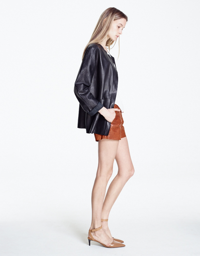 KAHLO CROC EMBOSSED LEATHER REALM SHORTS