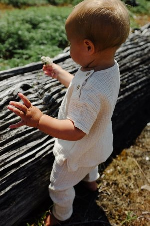 kids Petits Vilains Ami Woven Tee - Ecru