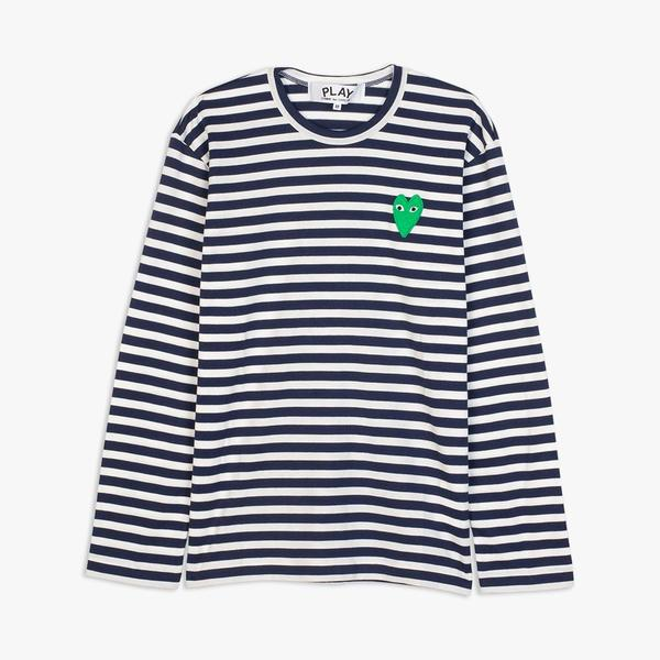 Comme des Garçons Play Green Heart Striped Long Sleeve TShirt - Navy/White