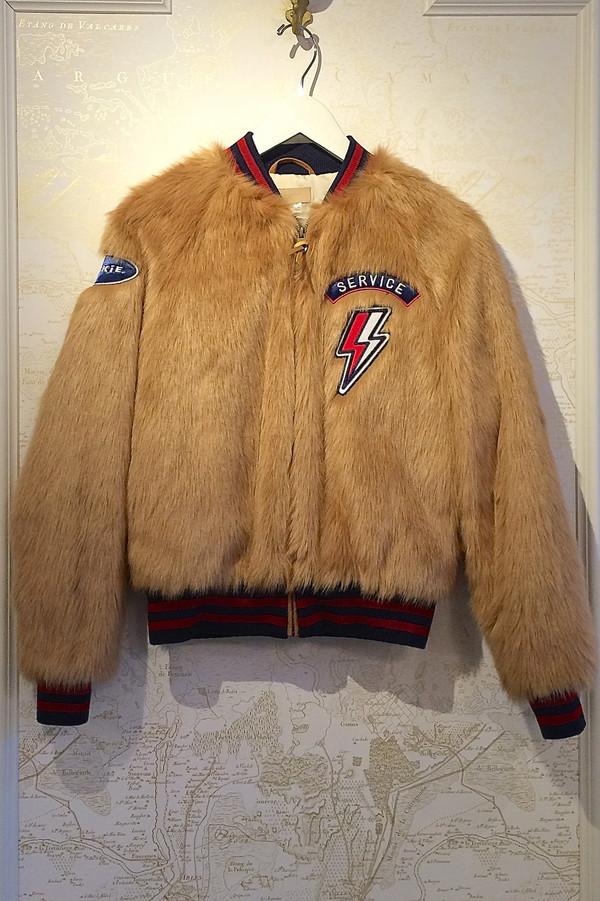 Mother Denim Letterman Patch Faux Fur Jacket Garmentory
