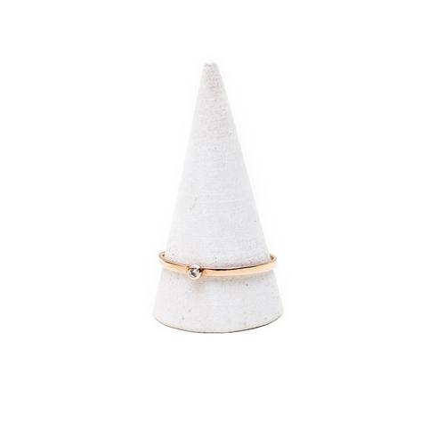 Gabriela Artigas Single White Diamond Ring in Rose Gold