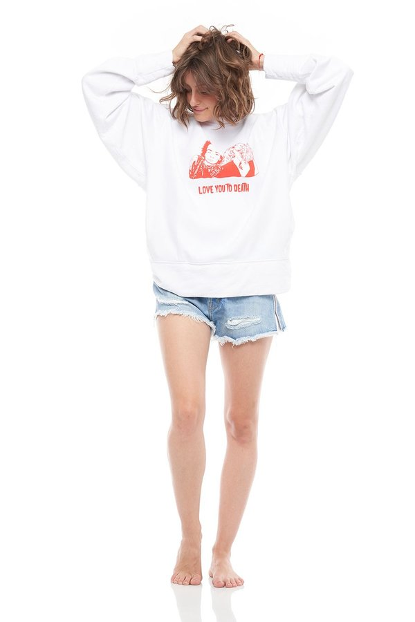 SANDRINE ROSE Love You To Death Oversized French Terry Pullover - WHITE