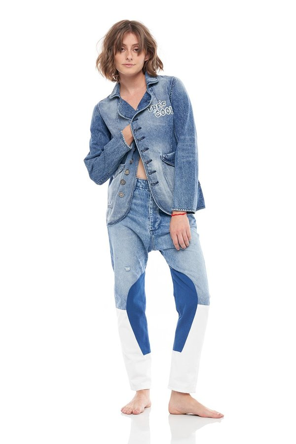 SANDRINE ROSE The Chateau Tres Cool Denim Jacket - indigo blue wash