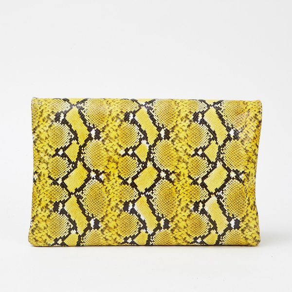 CLARE V. Foldover tabs Embossed leather Clutch - yellow