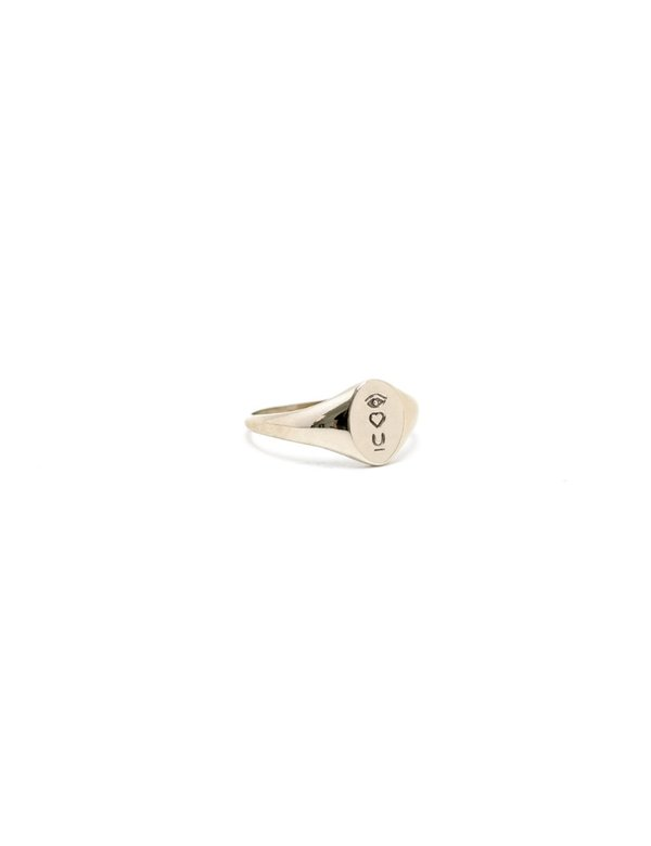 I LIKE IT HERE CLUB Satellite of Love Signet Ring - gold plated