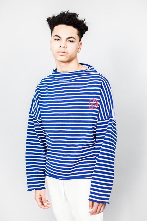 Gosha Rubchinskiy Striped Knit Sweater With Raw Hem Blue