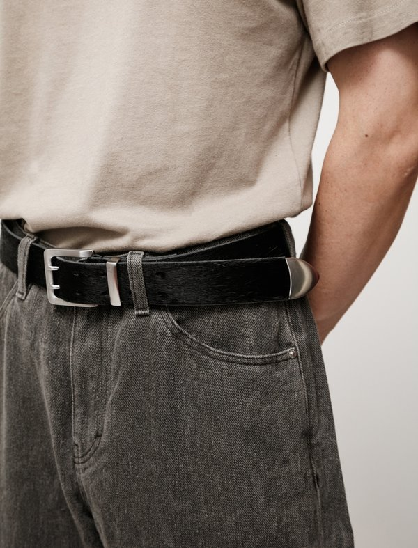 Our Legacy Double Tongue Belt - Black Hair on Hide