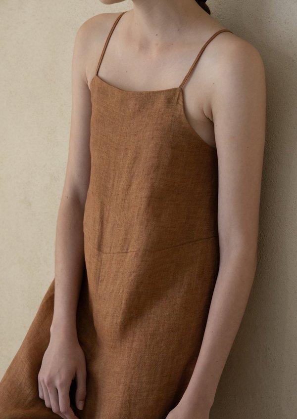 Missing you already Linen Strap Jogger Jumpsuit - Orange Brown