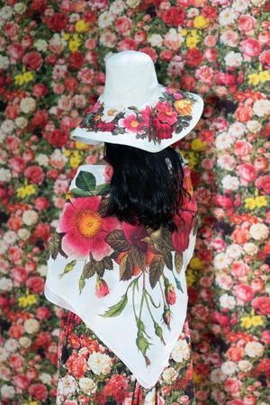 Samantha Pleet Wreath Shawl Scarf - multi