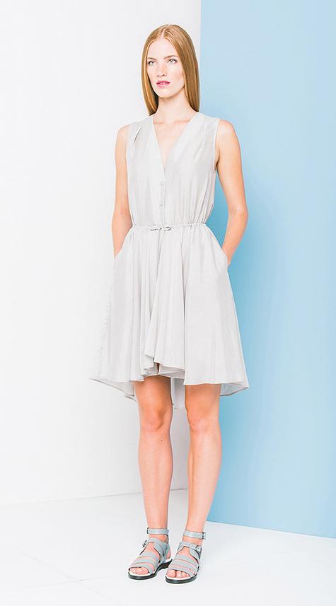 Obakki V-Neck Gathered Waist Dress