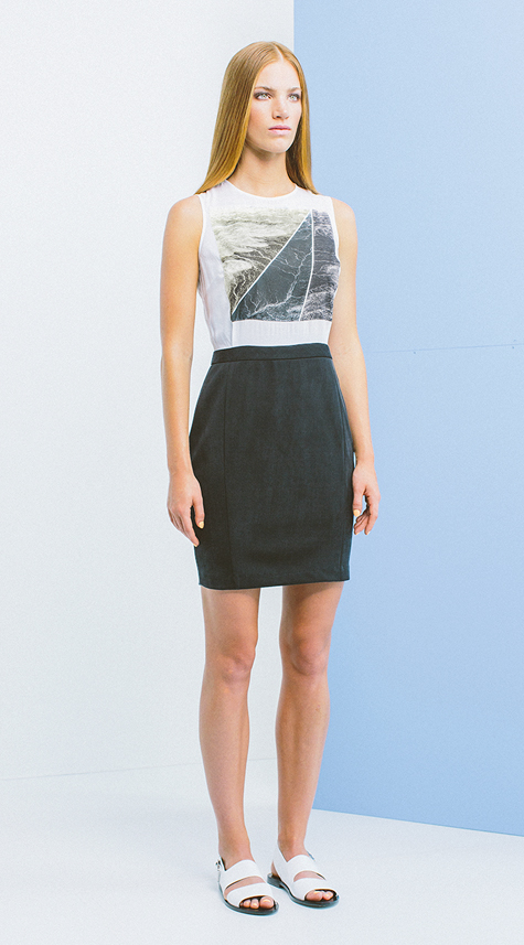 Obakki Photographic Print Dress with Contrast