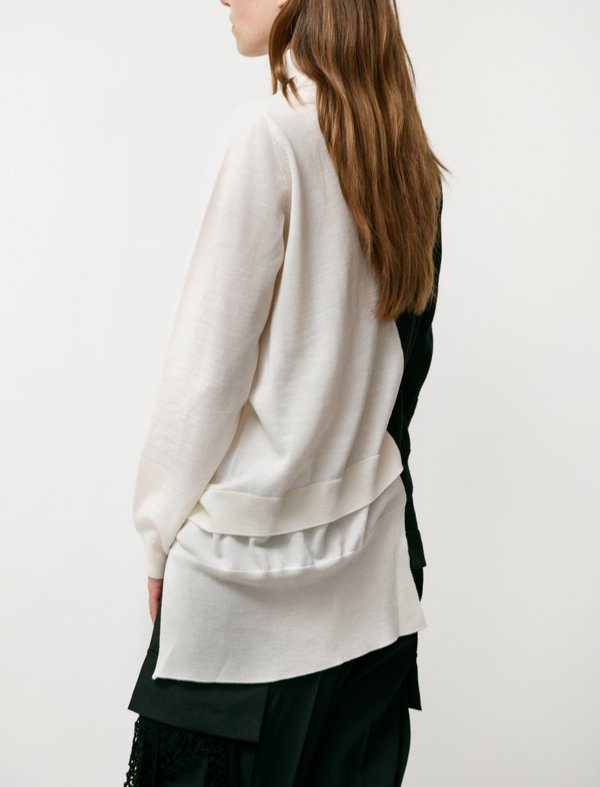 Y's by Yohji Yamamoto Layering Taste Diagonal Knit Top - Black / White