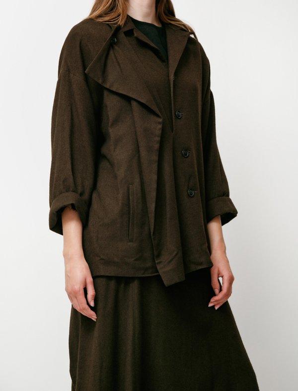 Y's by Yohji Yamamoto Plush Jacket Khaki - Brown