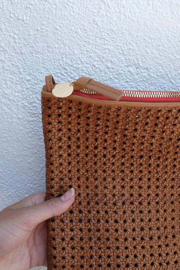 Clare V. Foldover Clutch with Tabs - Rattan Tan
