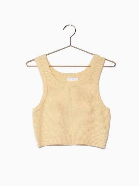 all row Ribbed Knit Tank Top - Butter Yellow