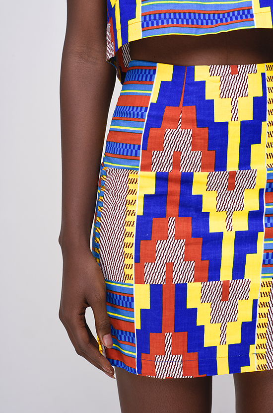 Osei-Duro Desine Skirt in Kente Wax Print