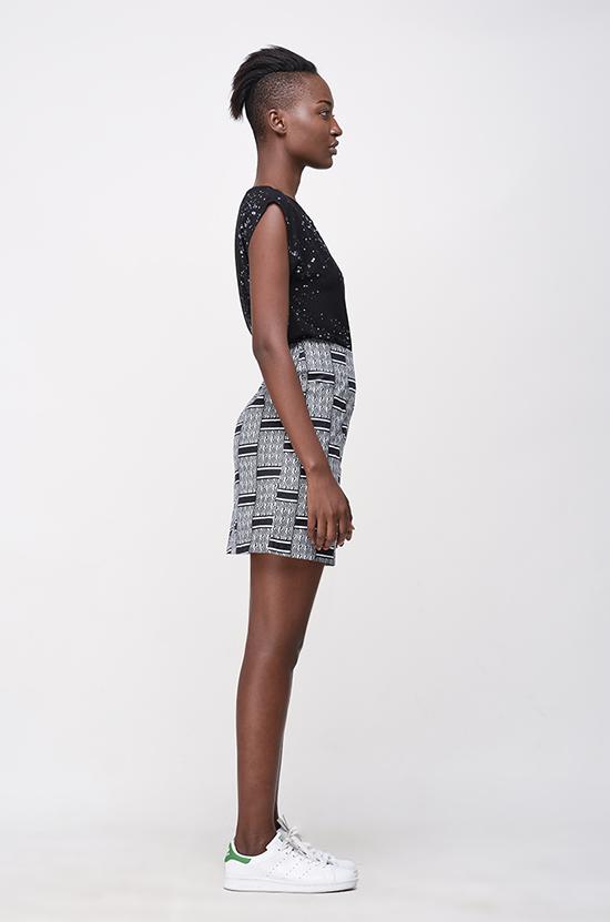 Osei-Duro Desine Skirt in Woven Wax Print