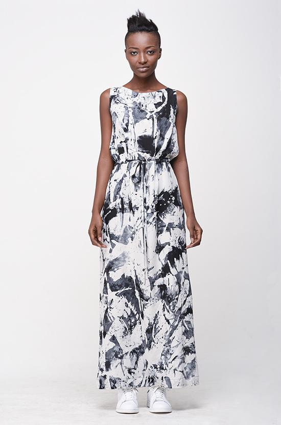 Osei-Duro Guise Maxi Dress in B&W Abstract