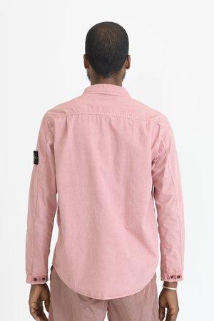 Stone Island Brushed Cotton Canvas 2 Pocket Overshirt - Rose Quartz